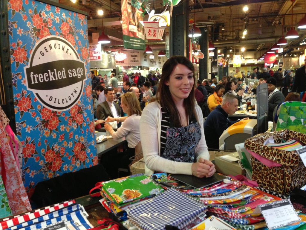 Jessica at Freckled Sage's table at the Terminal Market